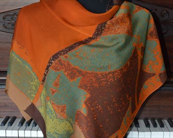 Autunal colors abstract pattern silk scarf
