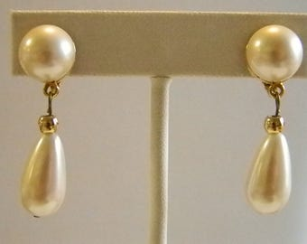 Creamy White Tear Drop Dangle Clip Earrings