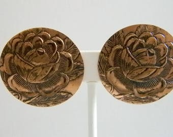 Large Round Rose Copper Clip Earrings