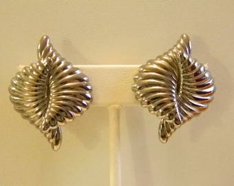 Silver Tone Double Twist Clip Earrings