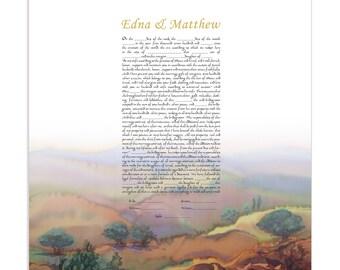 "KETUBAH ""Galilee"" / 16""x 16""  (40X40 cm) / Modern Ketuba / Silk Painting / Jewish wedding"