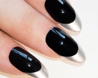 Bling Art Stiletto False Nails Fake Acrylic Black Silver Moonlit Full Medium Tips UK