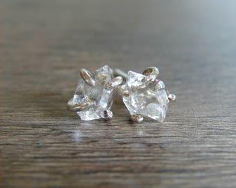 Herkimer Diamond Stud Earrings, Rough Crystal Jewelry, Bridal Wedding Earrings, April Birthday Gift, Girlfriend, Anniversary for Wife
