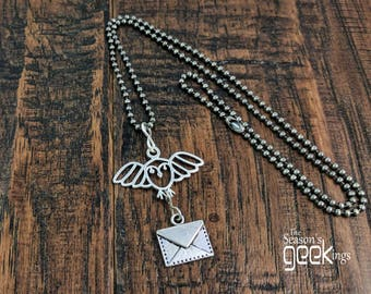 HP Necklace   Harry Potter Jewelry   Owl post   HP Jewelry gift   Harry Potter Necklace   Hedwig Necklace   Hogwarts letter jewelry   