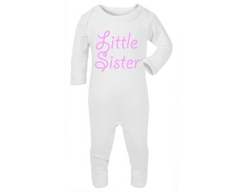 Newborn Girls 'Little Sister' Onesie Sleepsuit