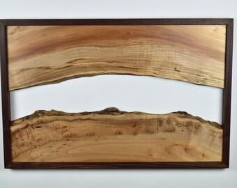 Wall Sculpture -- Maple Live Edge Slab -- Walnut Frame -- Natural, Organic Shapes