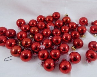 "Lot of 42 RED Miniature Feather Tree Glass Ball Ornaments (1"") Craft Projects"