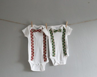 Christmas Suspender and Bow Tie Onesies