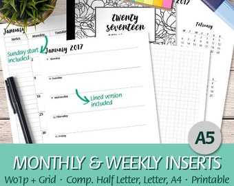 A5 - 2017 Week on One Page + Grid Paper, Month On Two Pages, Dated Weekly Planner, Half Letter, Letter, A4 - Printable Planner Insert, PDF