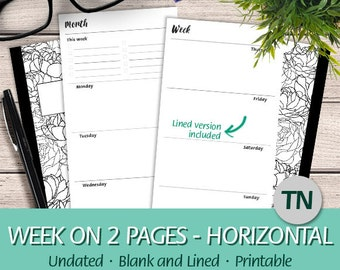 TN Regular - Undated Week on Two Pages Horizontal Layout, Weekly To Do List, Wo2P - Printable Planner Insert Traveler's Notebook, PDF
