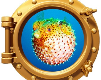 """Blowfish Underwater Porthole Wall Graphic Decal 12"""" Removable Reusable"""