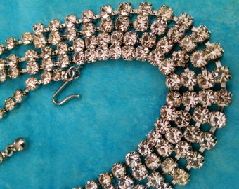 Beautiful Long Rhinestone Necklace,Gifts Under 45.00 Sparkling Double Strand,Accessories for Her,Christmas Gifts,Vintage Jewelry, Pretty