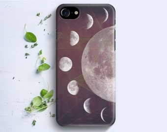 iPhone Case - Moon Phases Geometric Collage - iPhone 4/4s iPhone 5 iPhone 5c iPhone 5s iPhone 6 iPhone 6 Plus iPhone 6s iPhone SE iPhone 7