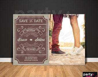Vintage Save The Date, Rustic Save The Date, Save the Date Printable, Photo Save The Date, Save The Date Postcard, Retro  STD56