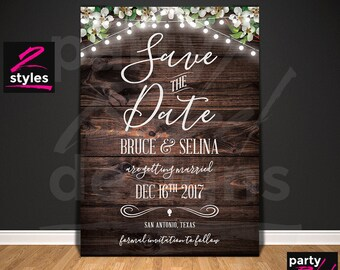 Rustic Save The Date, Vintage Invitation, Wood Save The Date, Printable Save The Date, Hanging Lights, Postcard, Wood Invitation, STD35