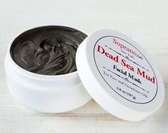 DEAD SEA MUD Mask. Spa Detoxifying Mineral Face & Body Treatment. Tea Tree and Geranium Oils. Vegan.