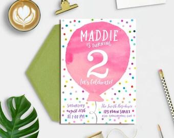 Balloon Birthday Invitation, Kids birthday invitation, Second Birthday Invitation, Birthday Invitation Girl, 2nd Birthday Invitations