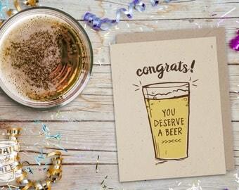 Congrats You Deserve A Beer Card, Craft Beer Lover, Beer Art, Greeting Card, Beer Hops, Cheers, Card for Men, Graduation
