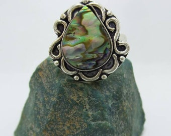 SALE Abalone Sterling Silver Ring, size 7.