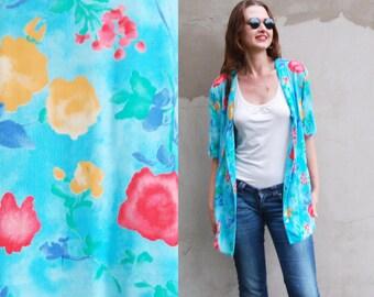 Vintage 80s Women Hawaiian Shirt / Floral print Turquoise blue Blouse Women top /Tropical Boyfriend Short sleeves top Festival clothing L XL
