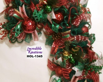 Candy Cane in Traditional Christmas Green and Red; Wreath for Front Door or Wall