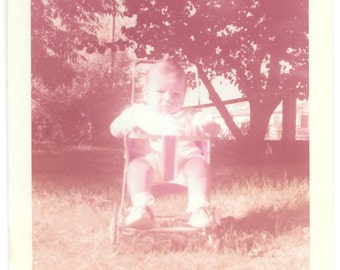 "Vintage Photo ""Baby In The Stroller"" baby picture, old photo,color photo, snapshot, photography, paper ephemera"