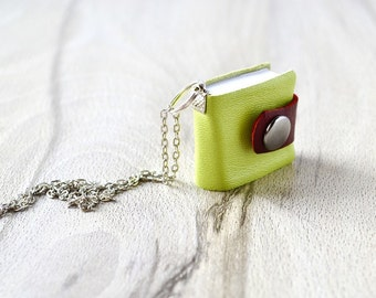 Tiny notebook Leather book necklace Tiny book necklace Leather mini book Notebook necklace Book pendant Miniature journal Booklovers gift