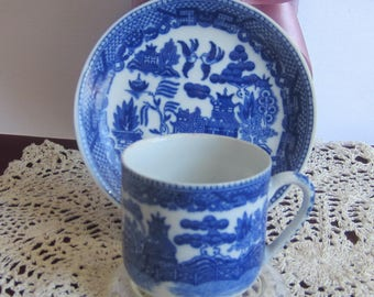 Made in Japan Blue Willow Style with Single Geisha Lithophane Demi Tasse Tea Cup and Saucer