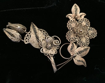 Two beautiful filigree brooch