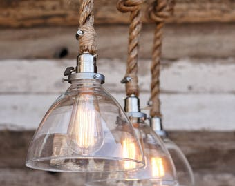 The Snow Pendant Light - Industrial Rope Light Fixture - Modern Swag Ceiling Lamp - Glass Shade Accent Hanging Light - Rustic Lighting