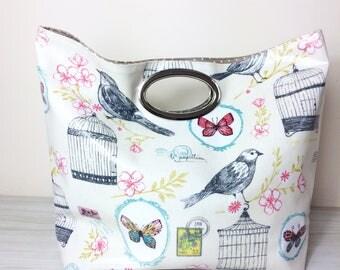 Birds handbag, everyday tote,market bag, woman bag, oilcloth bag,vegan bag, birds handbag, shopping bag, knitting bag, gift for her