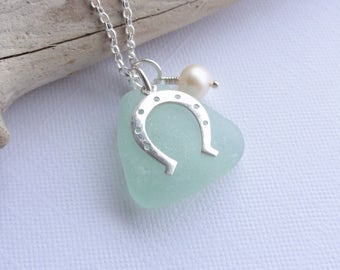 Scottish Sea Glass and Sterling Silver Horseshoe Necklace - OPTION to add INITIAL DISC - Sea Glass from Scotland