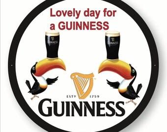 "Guinness Toucan Metal Sign  ""Lovely Day for a Guinness"""
