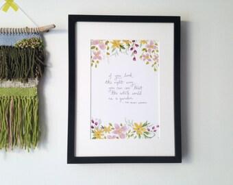 The Secret Garden Whole World Quote Archival Print | Booklover Gift Nursery Decor Literary Wall Art