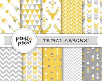 Tribal Digital Papers, Mustard, Yellow, Gray, Chevron, Hipster - Commercial Use