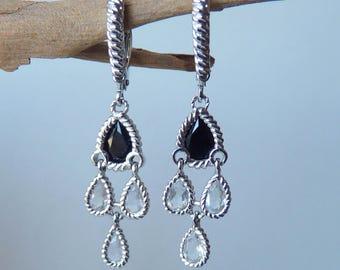 Atelier Sterling Silver Dangle Earrings Vintage Black and Clear Crystals Lever Back Earrings, Vintage Chandelier Jewelry Retro Pierced