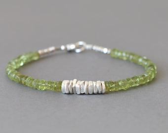 Peridot Bracelet August Birthstone Stacking Bracelet Beaded Bracelet Hill Tribe Silver Bracelet