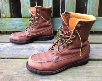 Vintage Herman Survivor Boots Brown Leather Lace Up Hunting Work Boots USA Sz. Youth 5 Womens 7