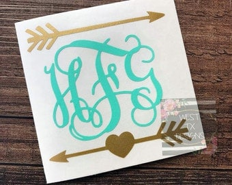 Arrow Monogram Decal | Arrow Decal | Monogram Decal | Yeti Decal | Laptop Decal | Car Decal | Personalized Decal | RTIC decal