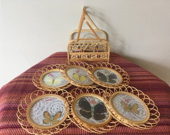 Butterfly Bamboo Set, Vintage 1970's, Drink Coaster Complete 7 piece Set, Pressed Genuine Butterflies Bamboo/Rattan, Excellent Condition