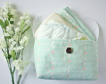 Mint Arrows Diaper Clutch with Changing Mat