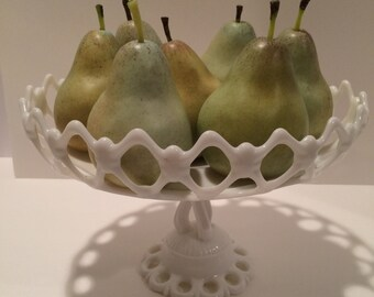 Vintage white milk glass footed pedestal dish