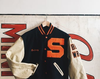 Vintage Black/Orange Somerville Varsity Letterman Jacket w/ Patches