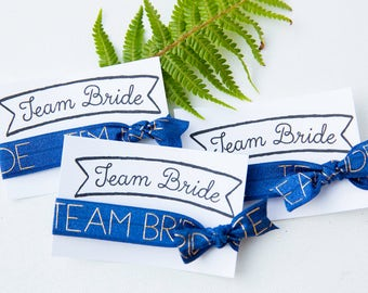 Team Bride Hair Ties, Bachelorette Party Favors, Bridesmaid Gift Bag, Wedding Favors, Engagement Party Favors, Wedding thank you gifts