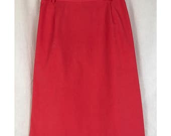 80's Salmon A-Line Skirt with Pockets / Vintage 1980's Pink Pencil Skirt by David Brooks