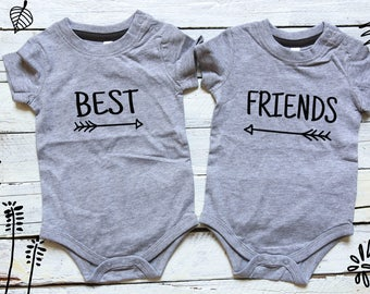 Best Friends, Twin Baby Onesies, Twin Baby Shower Gift, Twin Baby Boy Gift, Twin Infant Clothing, Twin Cute Baby Gift, Twin Onesies, Friends