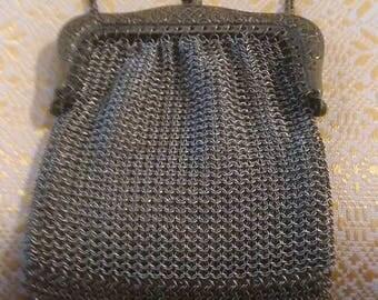 White metal victorian chain mail purse