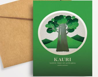 Kauri illustration in gouache. A6 greeting card with envelope – Native Trees of Aotearoa series.