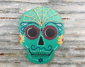 Sugar Skull, Dia De Los Muertos, Day of the Dead Hand Painted Skull