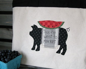 This Pig Went To Market - Farmers Market Tote Bag - Reusable Shopping Bag - Farmhouse style Canvas Tote